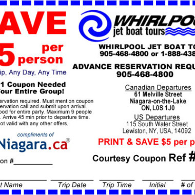 Whirlpool Jet Boat Tours Coupon 2014 Niagara